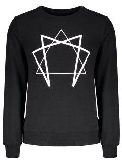 Crew Neck Geometric Printed Sweatshirt - Black M