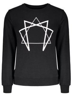 Besatzungs-Hals Geometrisches Gedrucktes Sweatshirt - Schwarz Xl