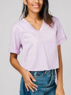 Camiseta Con Cuello V Neck - Morado Claro S