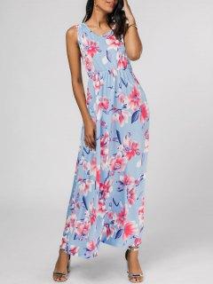 Vestido Largo Sin Mangas Con Estampado Floral - Floral Xl