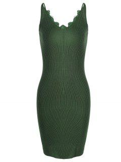 Lace Panel Side Slit Knitted Dress - Army Green