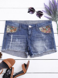 Graphic Cutoffs Distressed Denim Shorts - Deep Blue 36
