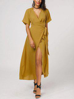 Plunging Neck Self Tie Wrap Dress - Ginger S