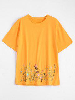 Crew Neck Floral Embroidered Tee - Yellow M