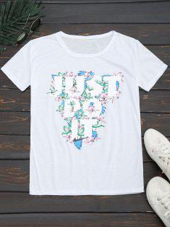 Round Collar Floral Letter Print Tee - White M