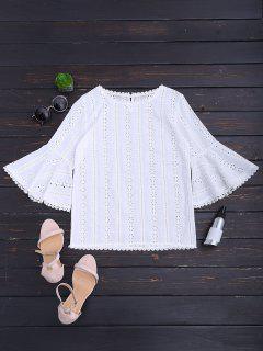 Blusa Redonda Con Cuello Redondo - Blanco M