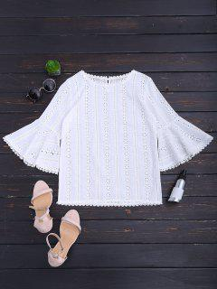 Round Collar Flare Sleeve Openwork Blouse - White L