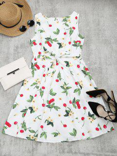 Cherry Floral Print Sleeveless Flare Dress - White L