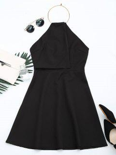 Open Back Ring Halter Flare Dress - Black M
