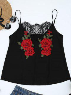 Lace Panel Floral Patched Cami Top - Black S