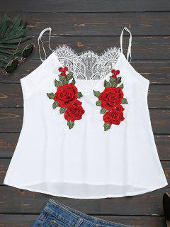 Lace Panel Floral Patched Cami Top - White S