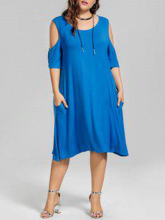 Casual Plus Size Cold Shoulder Dress - Blue 5xl