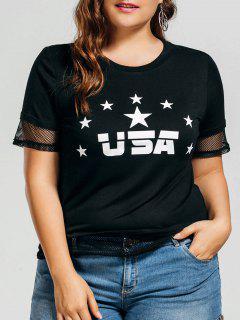Haut Grande Taille Imprimé Lettre étoile Avec Panneau En Maille - Noir Xl