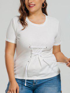 Cotton Plus Size Lace Up Top - White 4xl