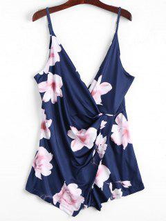 Plunging Neck Floral Cami Draped Romper - Purplish Blue L