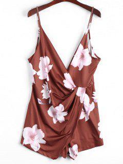 Plunging Neck Floral Cami Draped Romper - Dark Auburn S