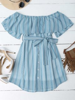 Multi Stripe Off The Shoulder Dress - Blue M