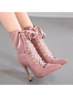 Tie Up Pointed Toe Short Boots - Pink 37