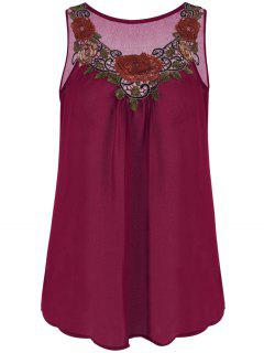 Embroidered Sleeveless Chiffon Plus Size Top - Wine Red 2xl