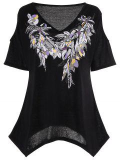 Cold Shoulder Feather Print Plus Size Top - Black Xl