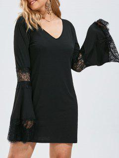 Plus Size  Bell Sleeve Lace Crochet Panel Tee Dress - Black 5xl