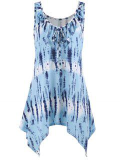 Tie Dye Sleeveless Plus Size Tunic Top - Light Blue 4xl