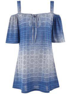 Printed Cold Shoulder Plus Size Tunic Top - Light Blue 3xl