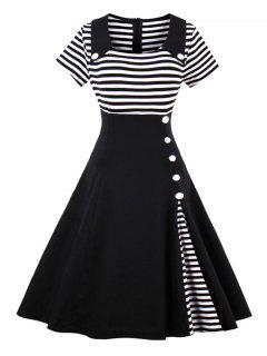 Vintages Gestreiftes Knopfpinn-oben Kleid - Schwarz 2xl