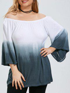 Taille Plus Ombre Off The Shoulder Top With Flare Sleeve - Gris 3xl