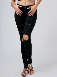 Five Pockets Destroyed Skinny Jeans - Black Xl