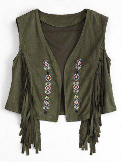 Embroidered Faux Suede Fringed Waistcoat - Army Green L
