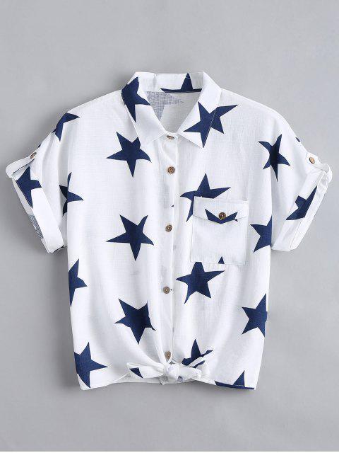 ladies Button Up Star Pattern Pocket Shirt - WHITE XL Mobile