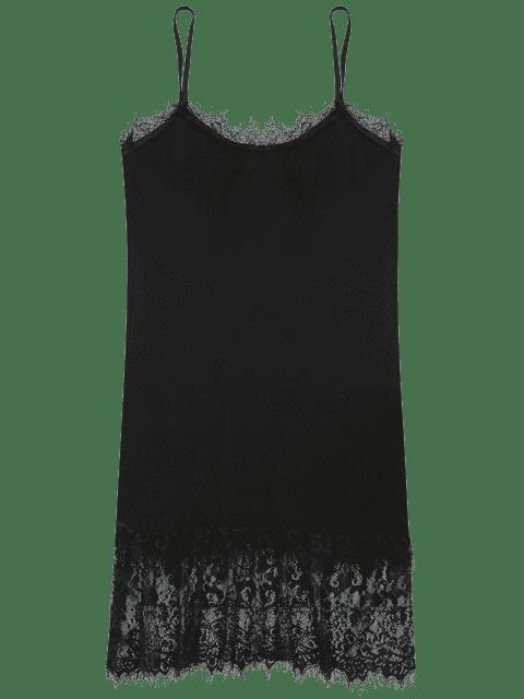 Robe blanche en tricot et en dentelle - Noir TAILLE MOYENNE Mobile