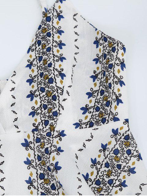 Top cami imprimé + Pantalons embelli fente haute - Blanc S Mobile