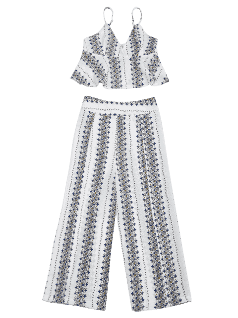 women's Printed Cami Top and High Slit Pants - WHITE XL Mobile