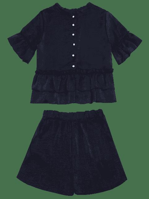 Ensemble flasque à manches courtes et à shorts - Bleu Violet XL Mobile
