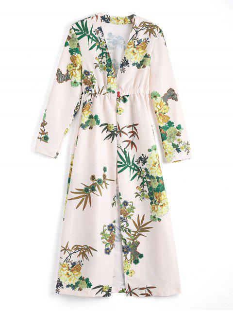 Blumen Lange Ärmel Geöffenet Vorderes Cover up Kleid - Aprikose L Mobile