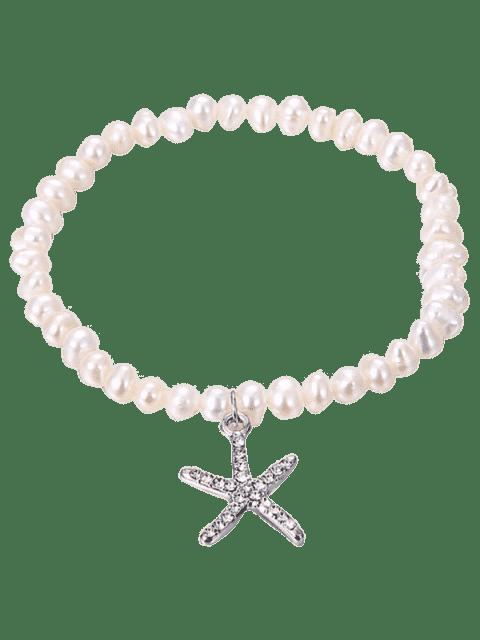 unique Starfish Pendant Faux Pearl Rhinestone Inlaid Bracelet - SILVER  Mobile