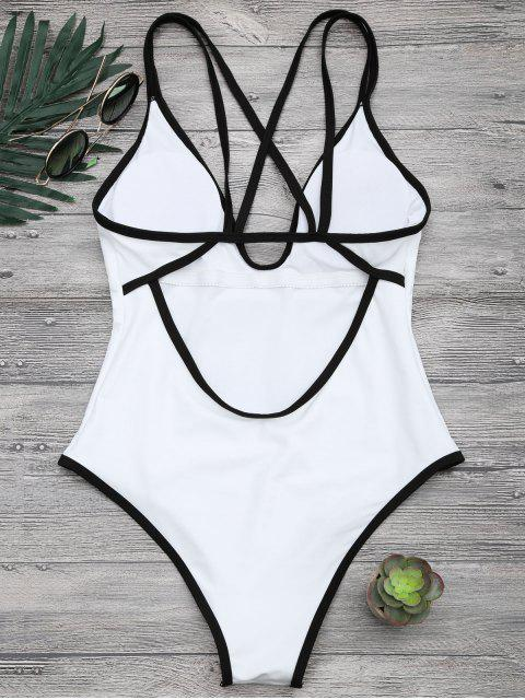 womens Contrast Piping Strappy High Cut Swimsuit - WHITE S Mobile