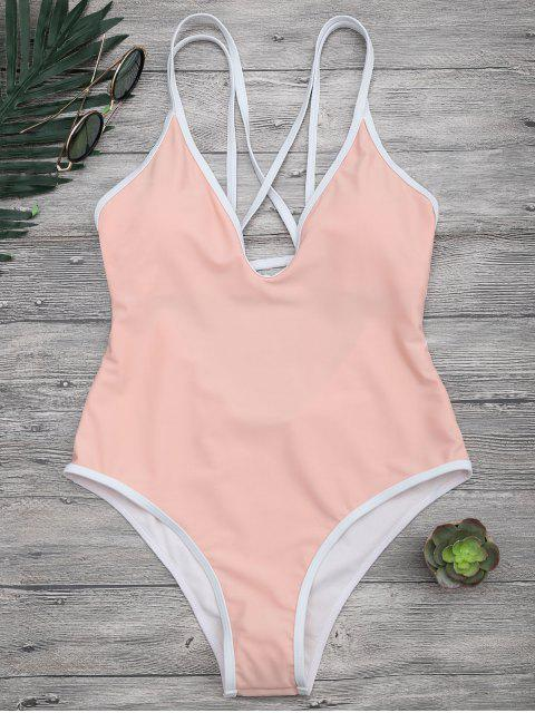 Maillot de bain contrasté Strappy High Straps - Orange Rose S Mobile