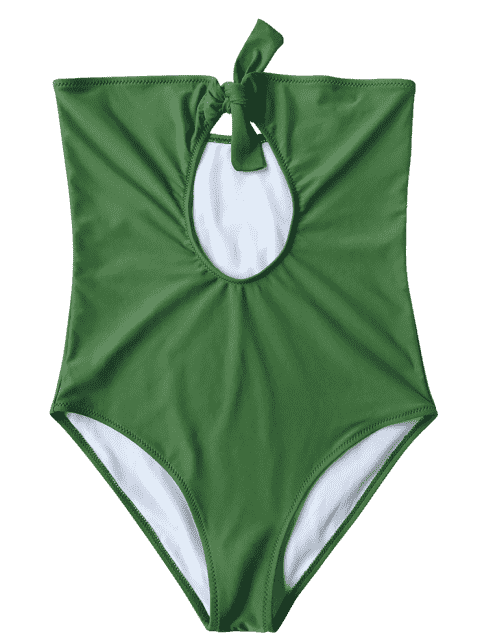 online Cutout Knotted Bandeau One Piece Swimsuit - GREEN S Mobile