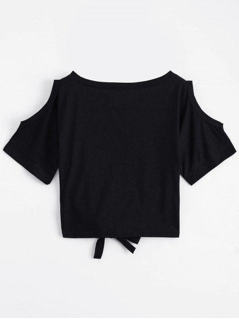 Top épaules dénudés imprimé lettres avec bowknot - Noir TAILLE MOYENNE Mobile