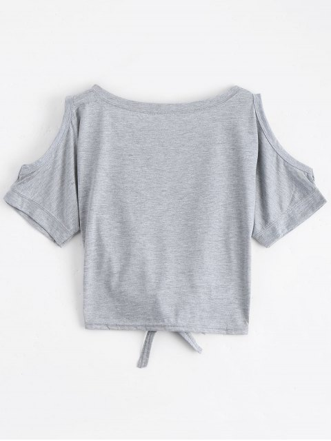 online Letter Bowknot Cold Shoulder Top - LIGHT GRAY ONE SIZE Mobile