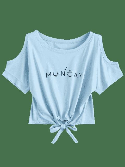 Top épaules dénudés imprimé lettres avec bowknot - Bleu clair TAILLE MOYENNE Mobile