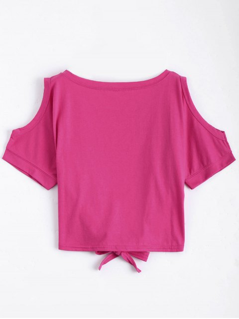 fashion Letter Bowknot Cold Shoulder Top - ROSE RED ONE SIZE Mobile