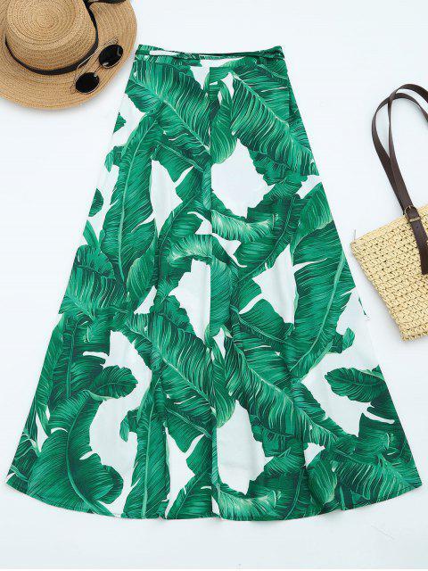 trendy Leaves Print High Waist Wrap Skirt - DEEP GREEN L Mobile