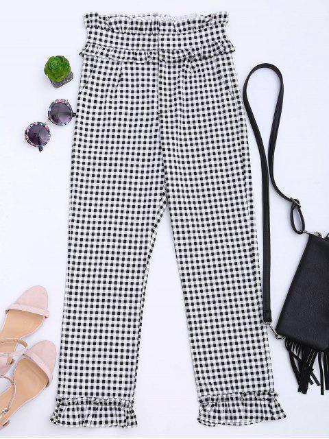 womens Ruffle Hem Checked Capri Pants - CHECKED L Mobile