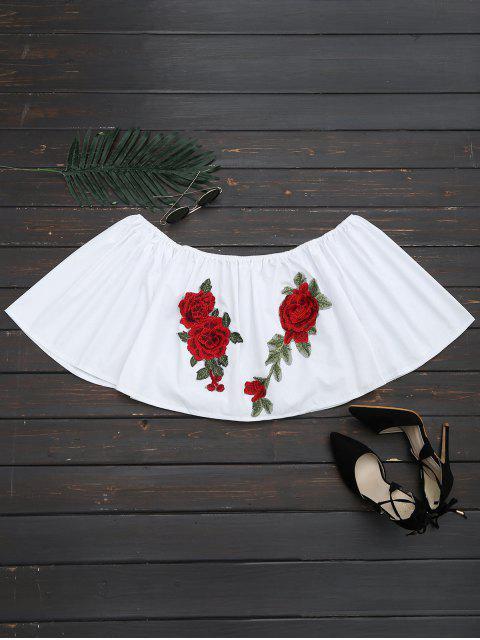 Blouse Coupée à Patch Floral à épaules Dénudées - Blanc M Mobile