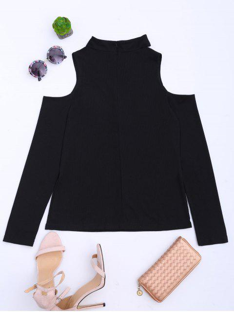 fashion Cold Shoulder Cut Out Ribbed Knitted Tee - BLACK S Mobile