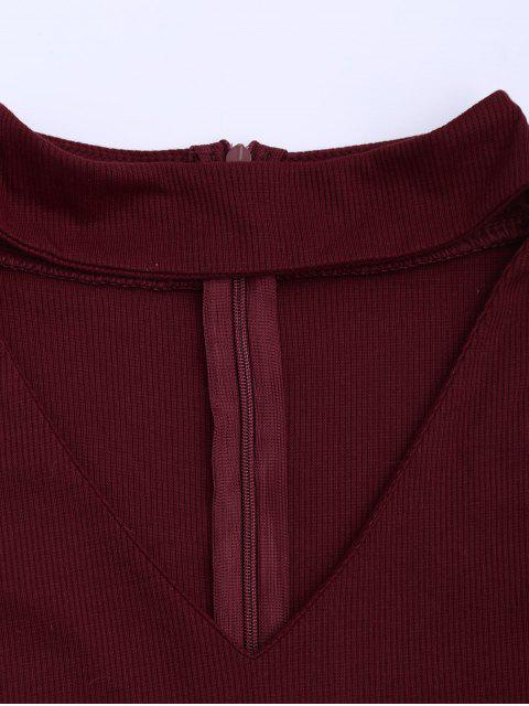 fancy Cold Shoulder Cut Out Ribbed Knitted Tee - DEEP RED L Mobile